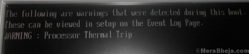Processor Thermal Trip Error