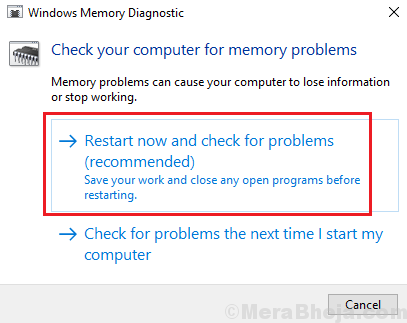 Restart Now And Check For Memory Problems