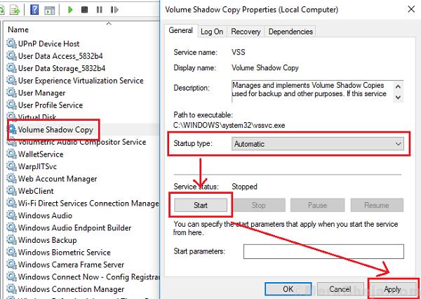 Start Volume Shadow Copy Service
