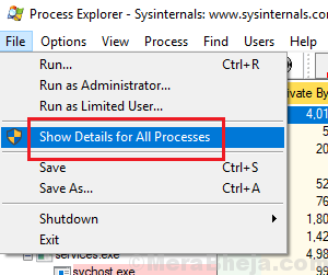 Show Details For All Processes