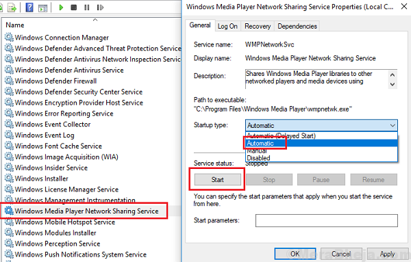 Start Windows Media Player Network Sharing Service