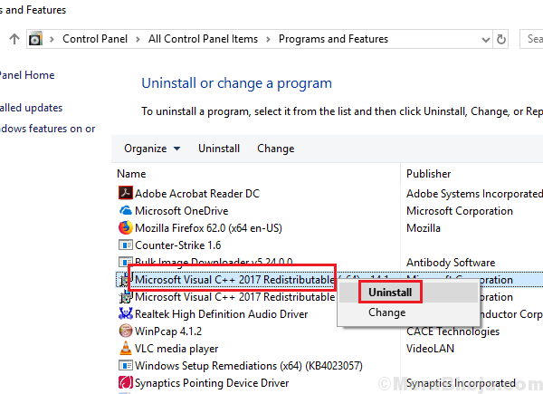 Uninstall Microsoft Reditributable