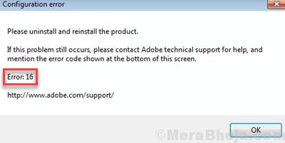 Adobe Error 16