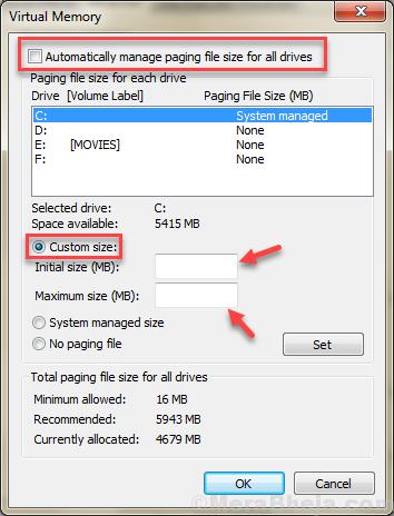 Custm Virtual Memory Size