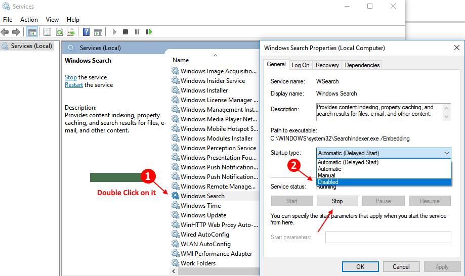 Disable Windows 10 Search Min