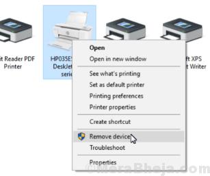 Remove Device Printer
