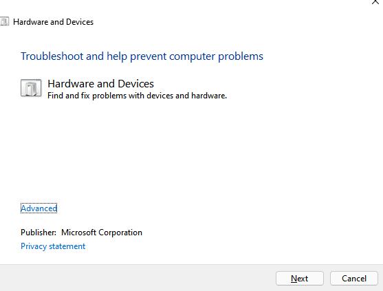 Troubelshoot Hardware Windows 11 Min