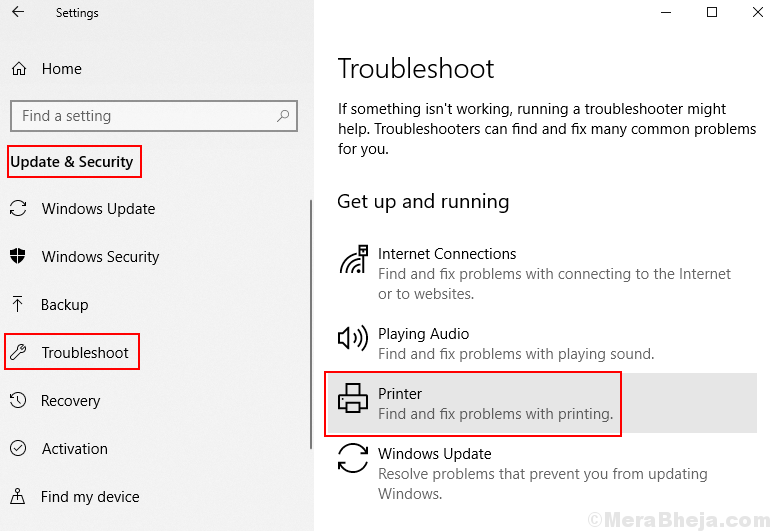 Troubleshoot Printer Windows 10