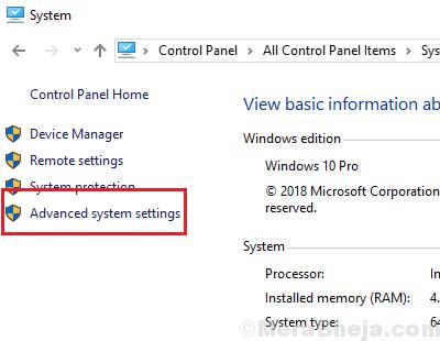 Advanced System Settings