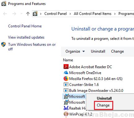 Change Microsoft