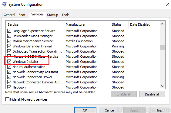 Check The Windows Installer Service