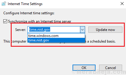 Choose Internet Time Server