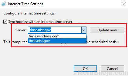 Choose Internet Time Server