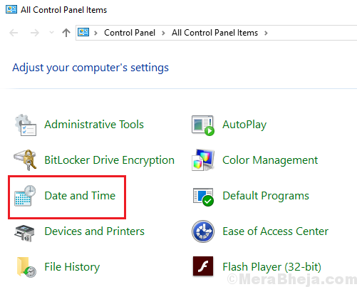 Date And Time In Control Panel