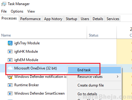 End Onedrive Task