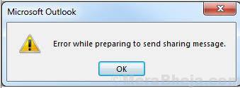 Error While Preparing To Send Sharing Message