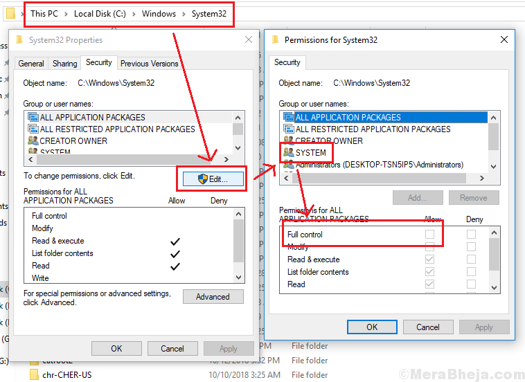 Give Full Permissions For System 32 Folder
