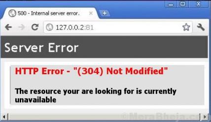 Http Error 304 Not Modified Error