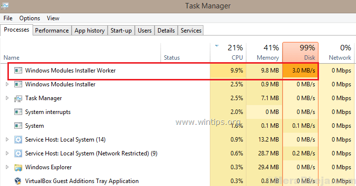 Fix High CPU Usage By TiWorker.exe in Windows 10