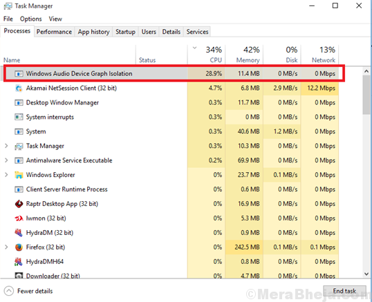 High Cpu Usage Due To Windows Audio Device Graph Isolation