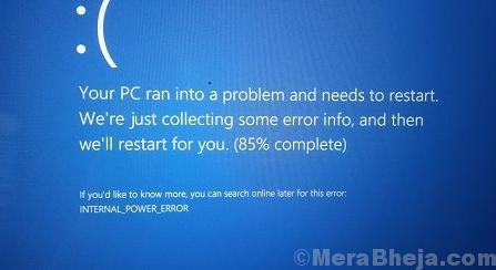 Internal Power Error Blue Screen On Windows 10