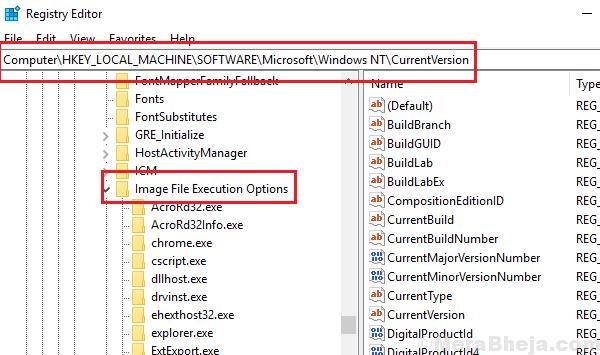 Image File Execution Options