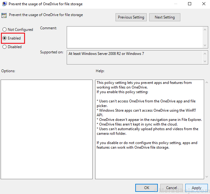 Prevent Usage Of Onedrive For Storage