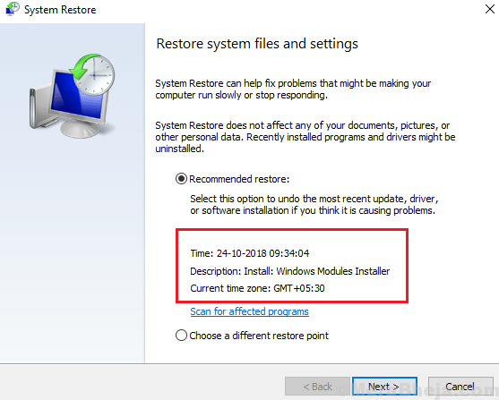 Restore System Files And Settings
