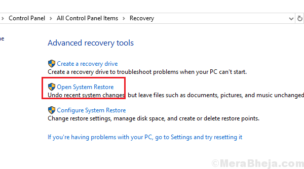 Select Open System Restore