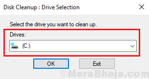Select Drive For Disk Cleanup