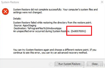 System Restore Error 0x80070091