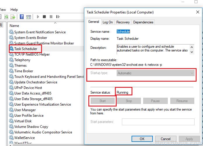 Task Scheduler Service Properties