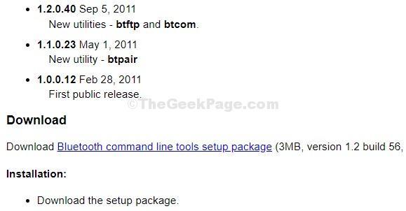 Bluetooth Command Line Setup Package