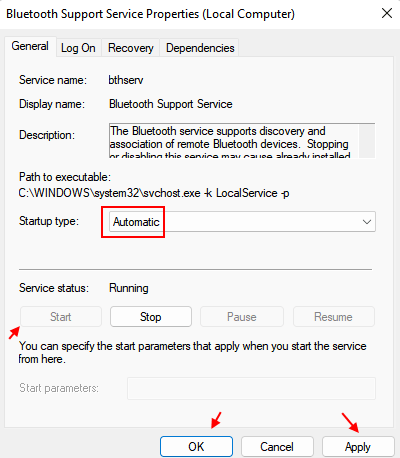 Bluetooth Support Service Automatic Min