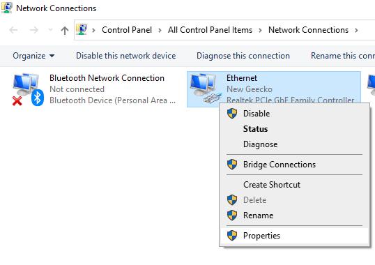 Ethernet Properties Min