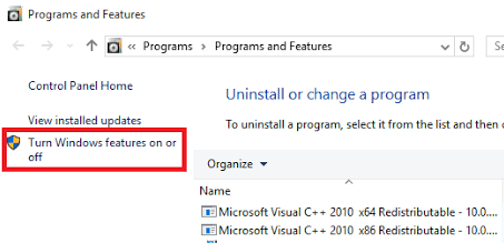 Turn On Off Windows Features