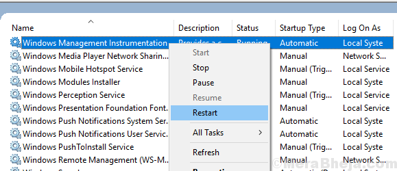 Windows Management Instrumentation Service Restart
