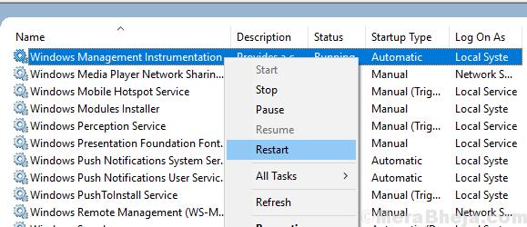 Windows Management Instrumentation Service Restart