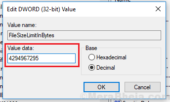 Change Value Data For File Size Limit