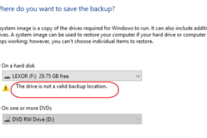 The Drive Is Not A Valid Backup Location