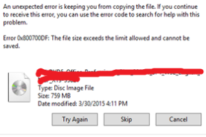 The File Size Exceeds The Limit Allowed And Cannot Be Saved