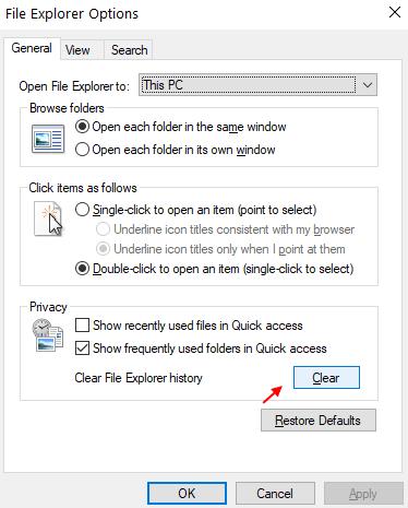 Clear File Explorer History Min