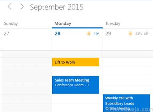 Microsoft Mail Calendar