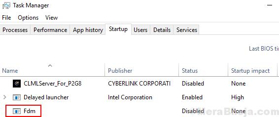 Startup Tab Windows 10