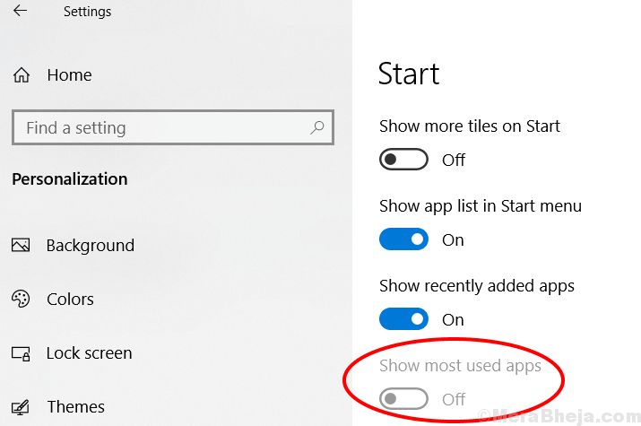 Show Most Used Apps Settings Greyed Out