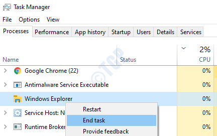 Windows Explorer End Task