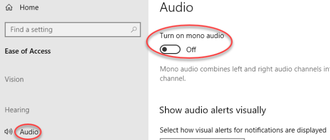 Mono Audio Disable Windows 10 Min