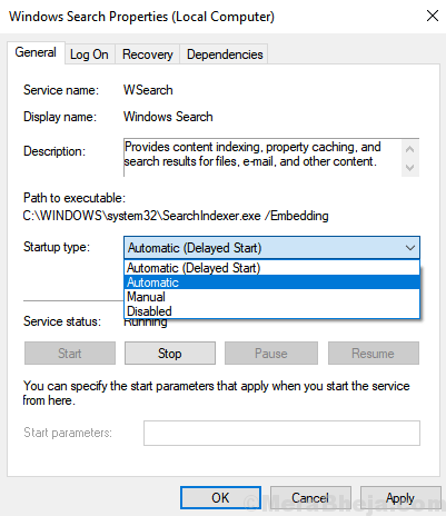 Start Up Type Automatic Windows Search Min