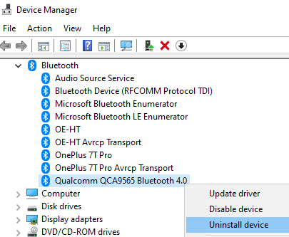 Uninstall Device Bluetooth