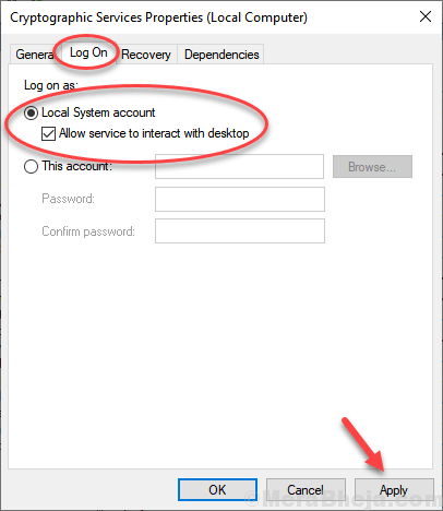 Allow System To Interact Withdesktop Min
